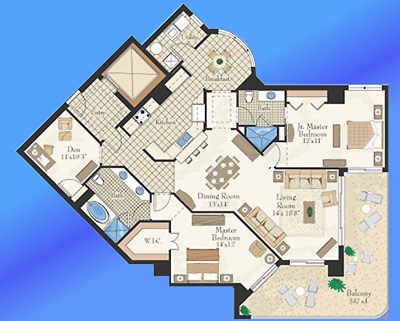 Unit C West Floor Plan